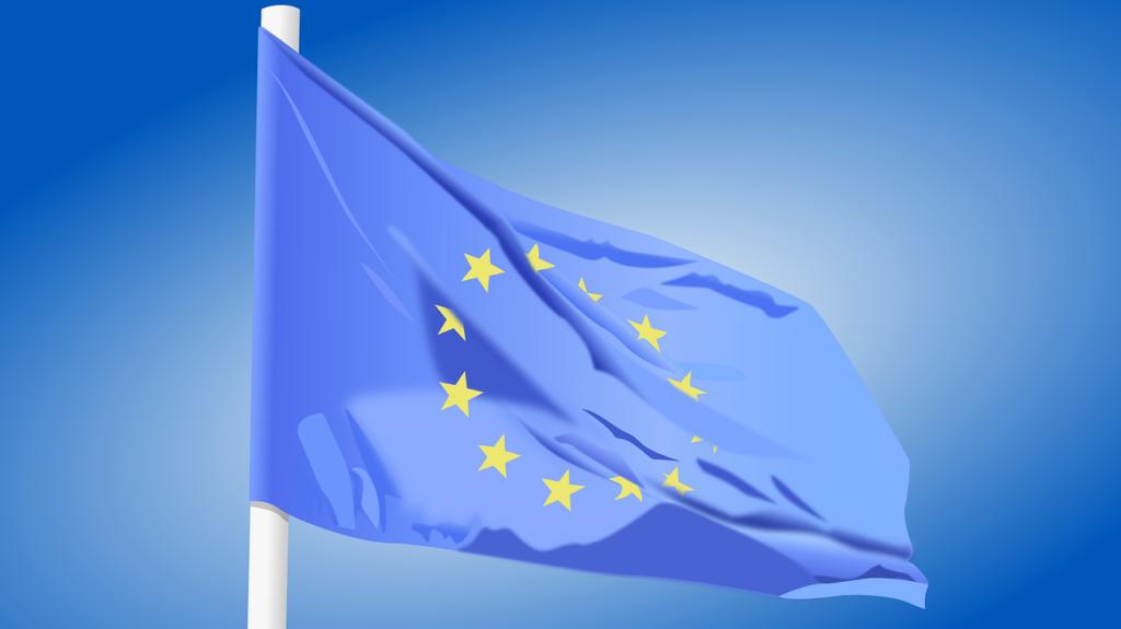 EU:s flagga på en flaggstång.
