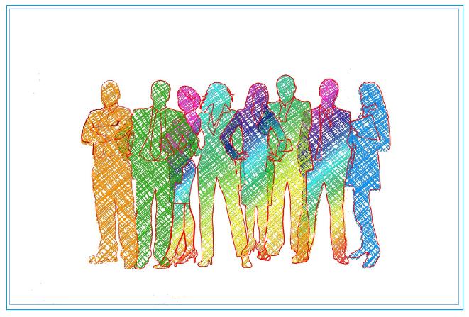 En illustration av åtta personer som är målade i olika färger.